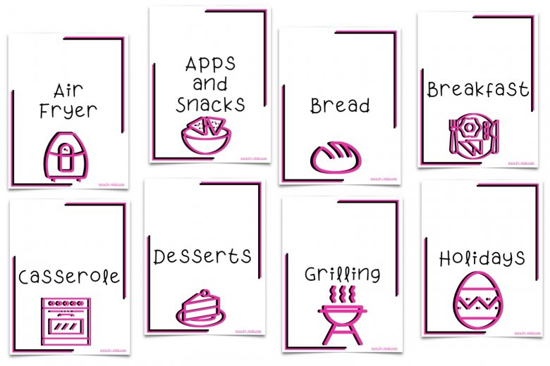 eight of the 16 categories that come with the recipe binder with pink and white color scheme