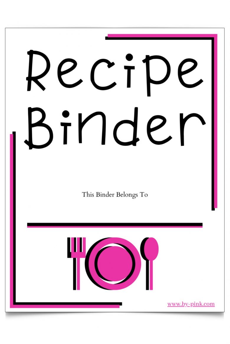 recipe binder cover photo with pink and white color scheme. pink plate, fork, and spoon as the image on the bottom