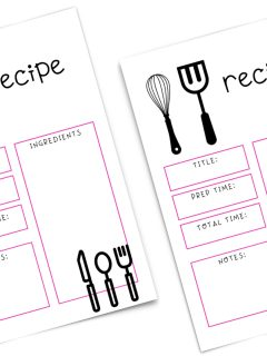 two copies of pink and white themed recipe card with five sections: title, prep time, total time, notes, and ingredients; whisk and spatula doodle on top left; knife, spoon, and fork doodle on bottom right