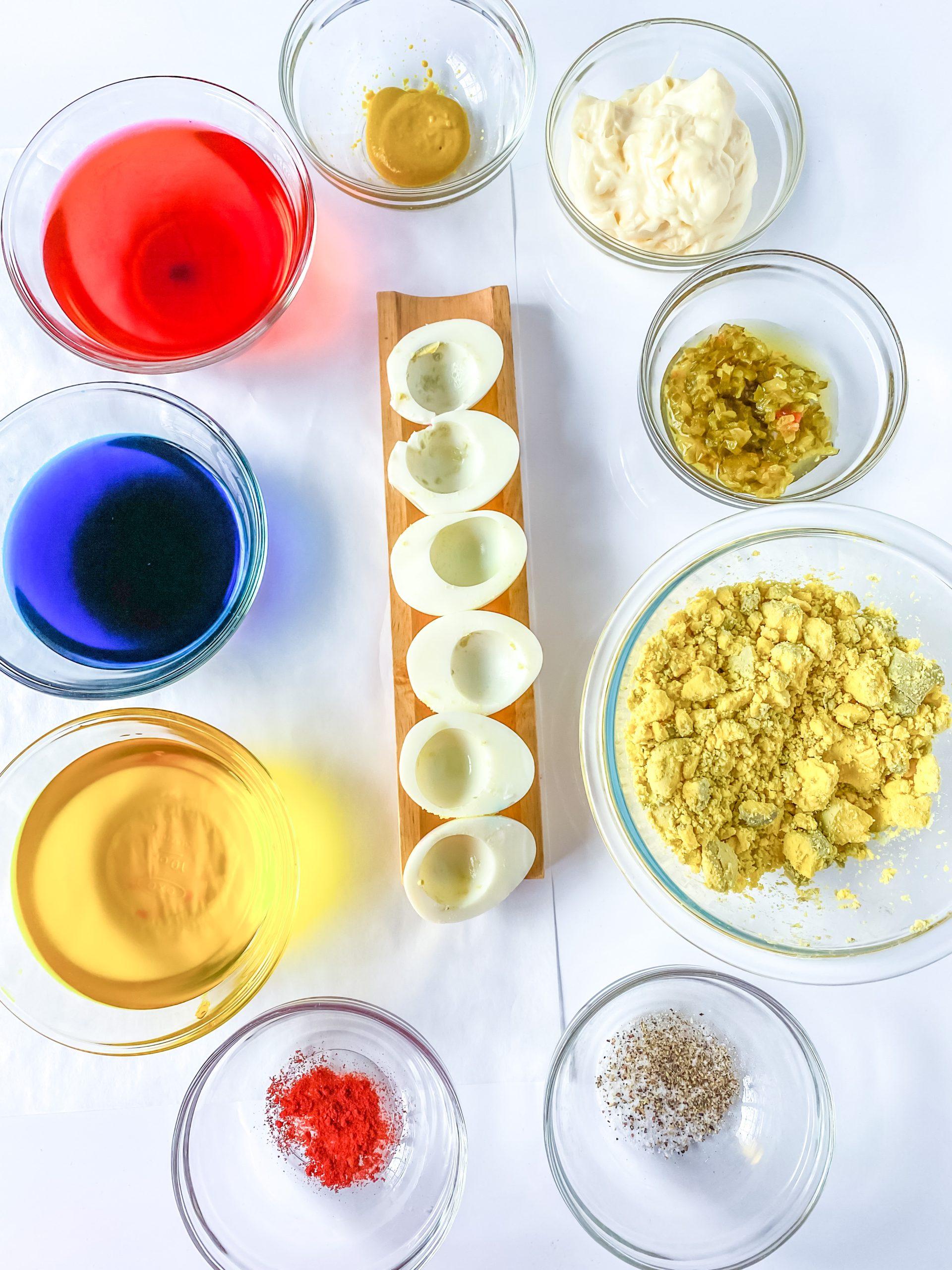 colored deviled egg ingredients