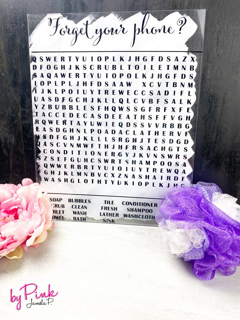 word search with bathroom words on an acrylic sheet made with cricut vinyl