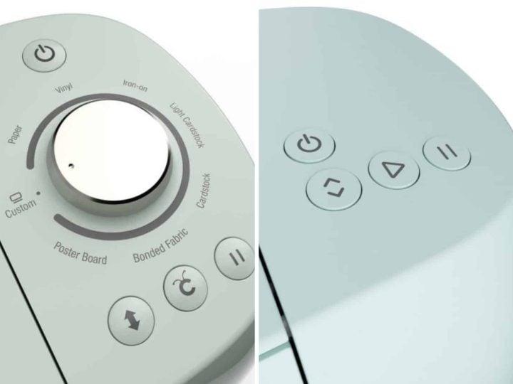 top of cricut machine showing buttons buttons
