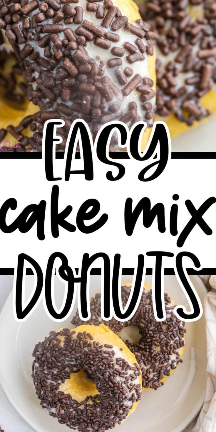 pin image of donuts made from cake mix with a text overlay