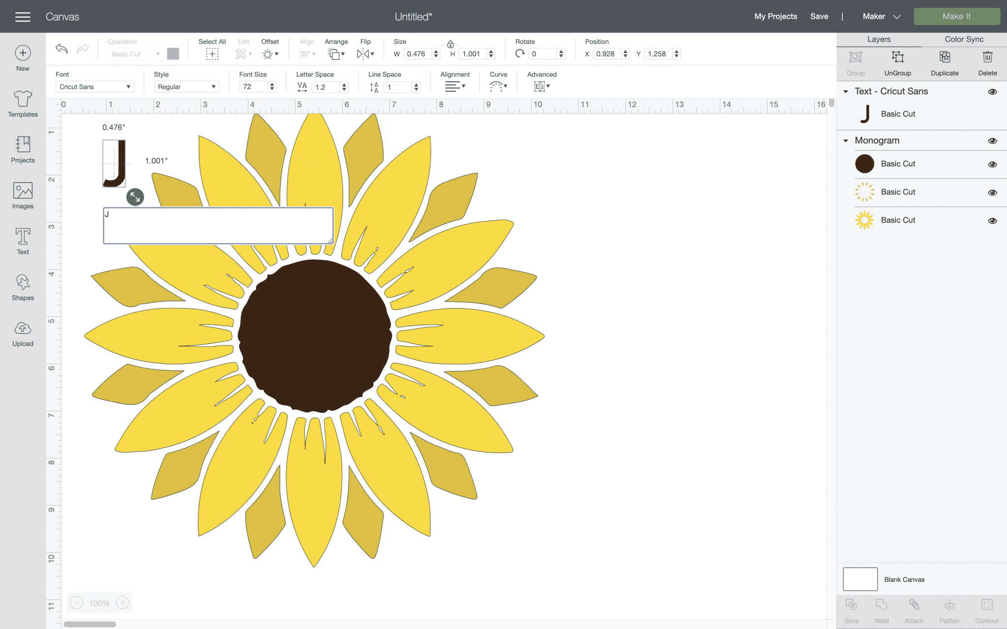 cricut design space with 1 letter typed on a canvas and free sunflower svg