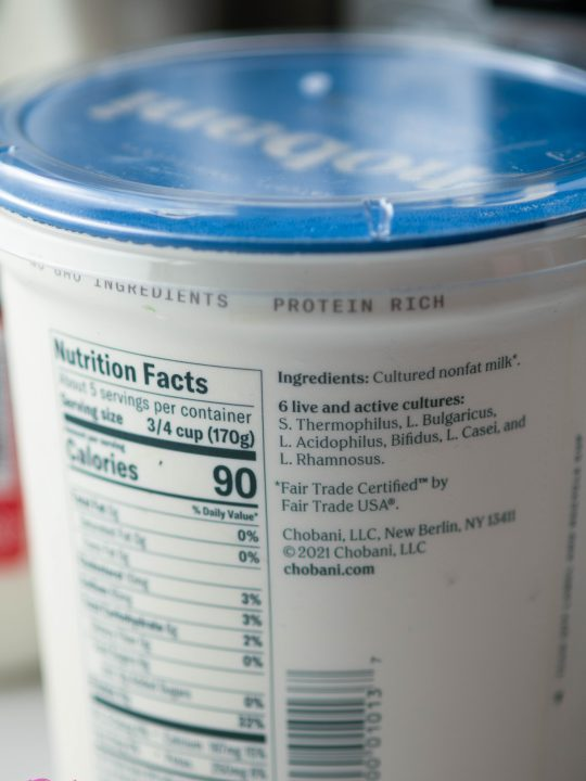 back of a chobani yogurt